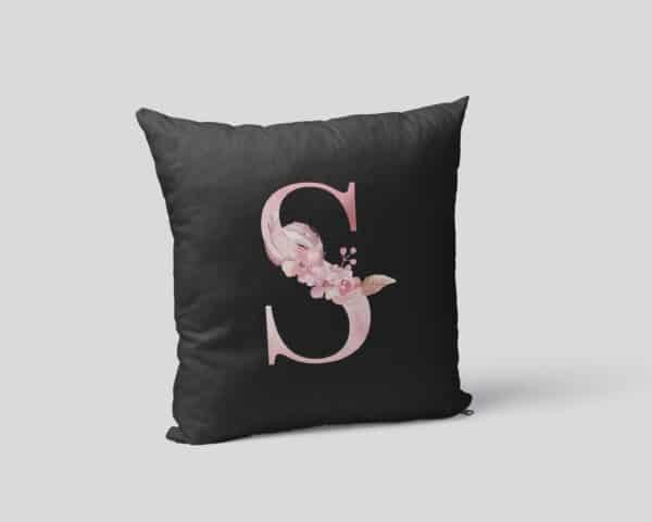 Custom Printed Monogram Letter S on Black Pillow Case mockup square-02
