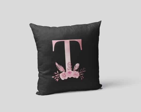 Custom Printed Monogram Letter T on Black Pillow Case mockup square-02