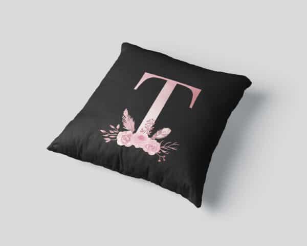 Custom Printed Monogram Letter T on Black Pillow Case mockup square-03