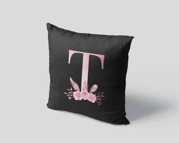 Custom Printed Monogram Letter T on Black Pillow Case mockup square-04
