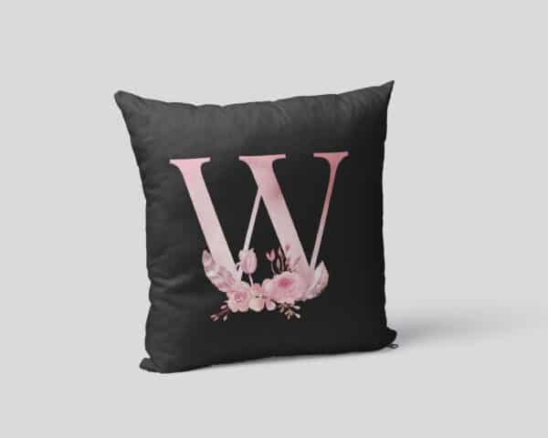 Custom Printed Monogram Letter W on Black Pillow Case mockup square-02