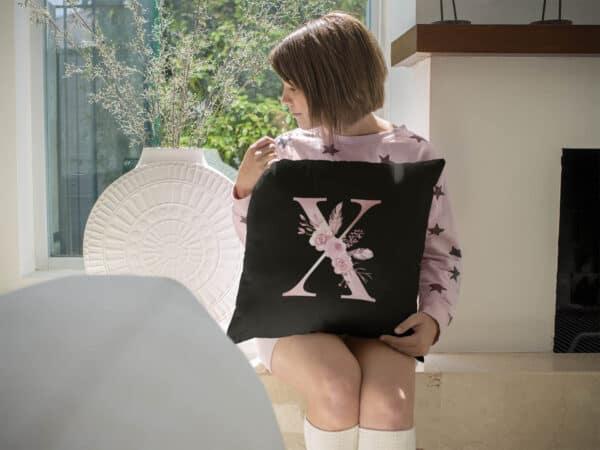 Custom Printed Monogram Letter X on Black Pillow Case