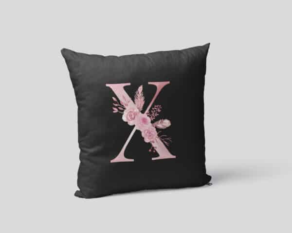 Custom Printed Monogram Letter X on Black Pillow Case mockup square-02