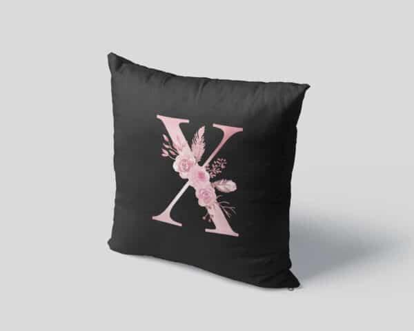 Custom Printed Monogram Letter X on Black Pillow Case mockup square-04