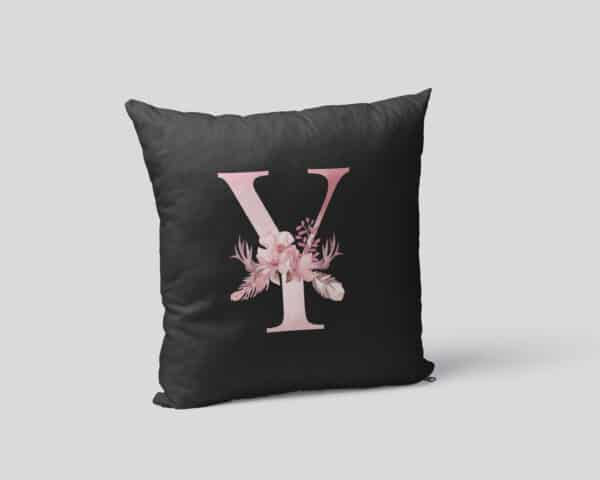 Custom Printed Monogram Letter Y on Black Pillow Case mockup square-02
