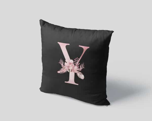 Custom Printed Monogram Letter Y on Black Pillow Case mockup square-04