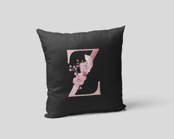 Custom Printed Monogram Letter Z on Black Pillow Case mockup square-02