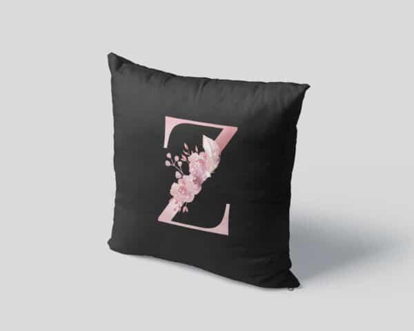 Custom Printed Monogram Letter Z on Black Pillow Case mockup square-04