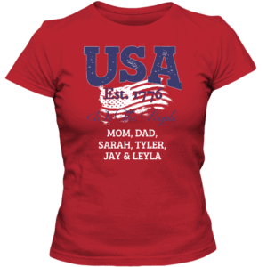 USA - We the people Personalized Custom Printed Ladies T-shirt Design red