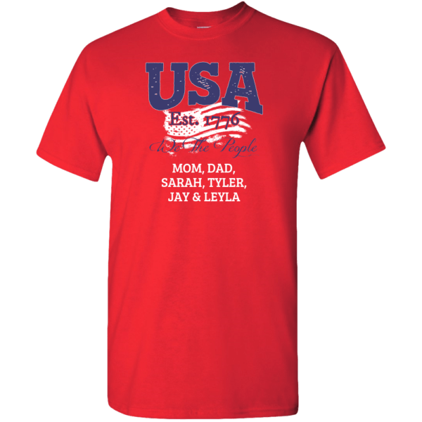 USA - We the people Personalized Custom Printed T-shirt red