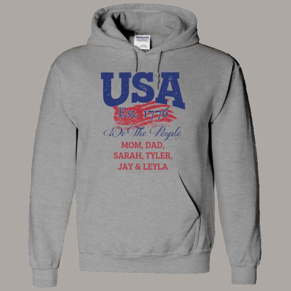 USA We the people - Personalized Custom Printed Hoodie Athletic Heather