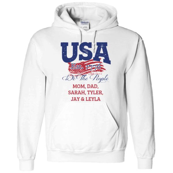 USA We the people - Personalized Custom Printed Hoodie White