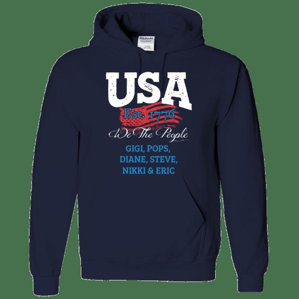 USA We the people - Personalized Custom Printed Hoodie Navy