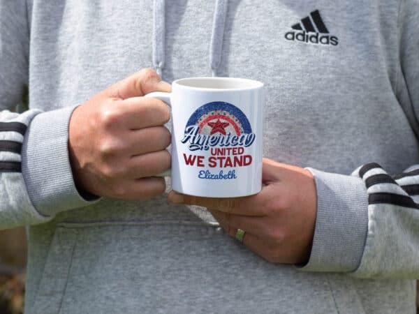 All American Mama - Custom Printed Coffee Mug person is holding