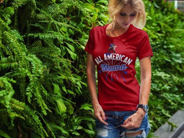 All American Mama - Custom Printed Ladies T-shirt-Red