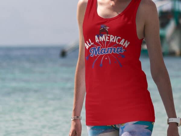 All American Mama - Custom Printed Tank Top Red