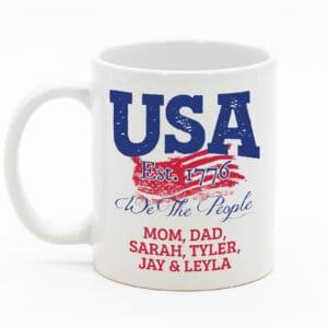 USA - We the people Personalized Custom Printed White Coffee Mug Design