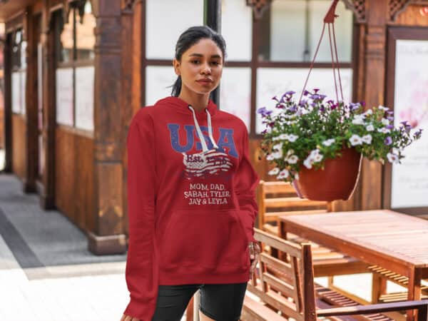 USA We the people - woman modeling in Personalized Custom Printed Hoodie Red