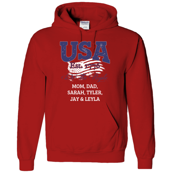 USA We the people - Personalized Custom Printed Hoodie Red