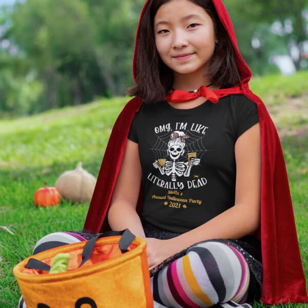 Girl sitting in the grass in Halloween T-shirt Literally Dead Personalized Custom Halloween T-shirt Youth