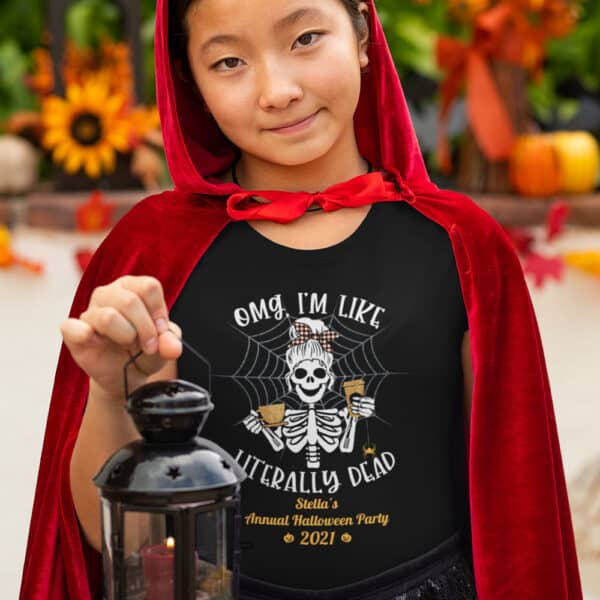 Girl holding Lantern in Halloween costume Literally Dead Personalized Custom Halloween T-shirt Youth
