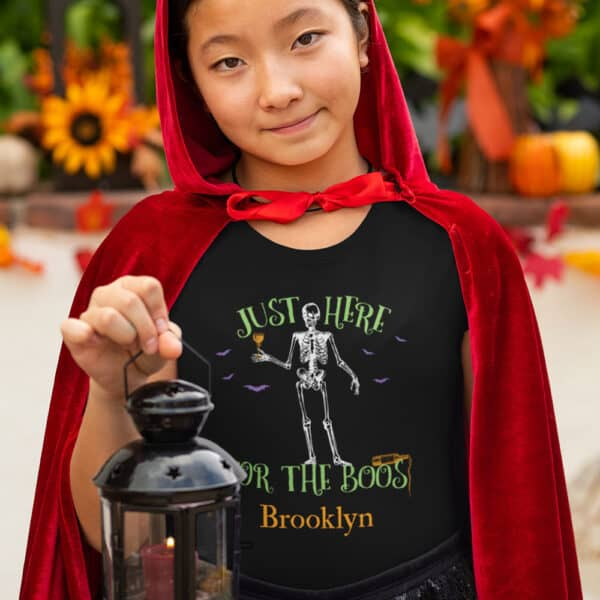 Here For the Boos - Personalized Custom Halloween T-shirt Youth