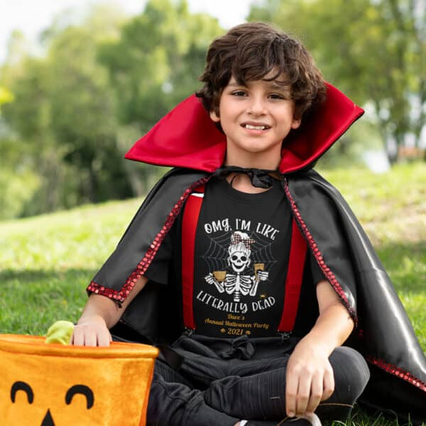 Boy sitting in the grass in Halloween costume Literally Dead Personalized Custom Halloween T-shirt Youth
